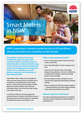 Cover of smart meters fact sheet