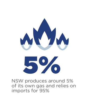 NSW produces around 5% of its own gas and relies on imports for 95%.