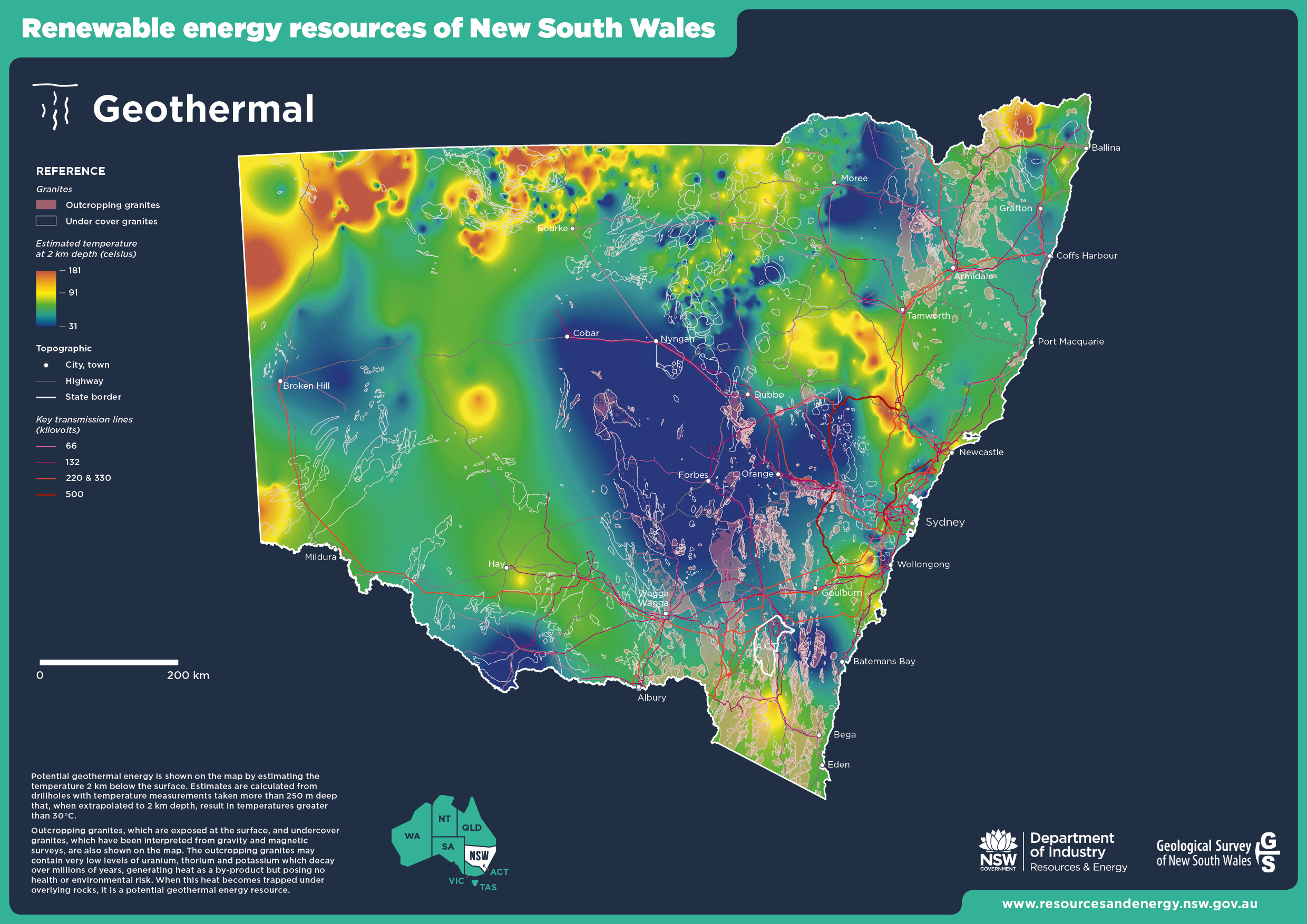 Map of geothermal energy resources of NSW