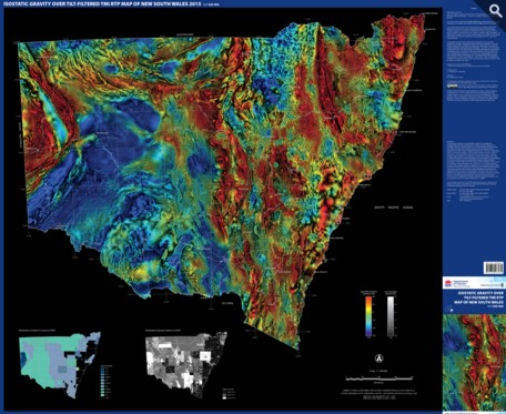 Isostatic Gravity over Tilt-filtered TMI RTP map of New South Wales 1:1 500 000