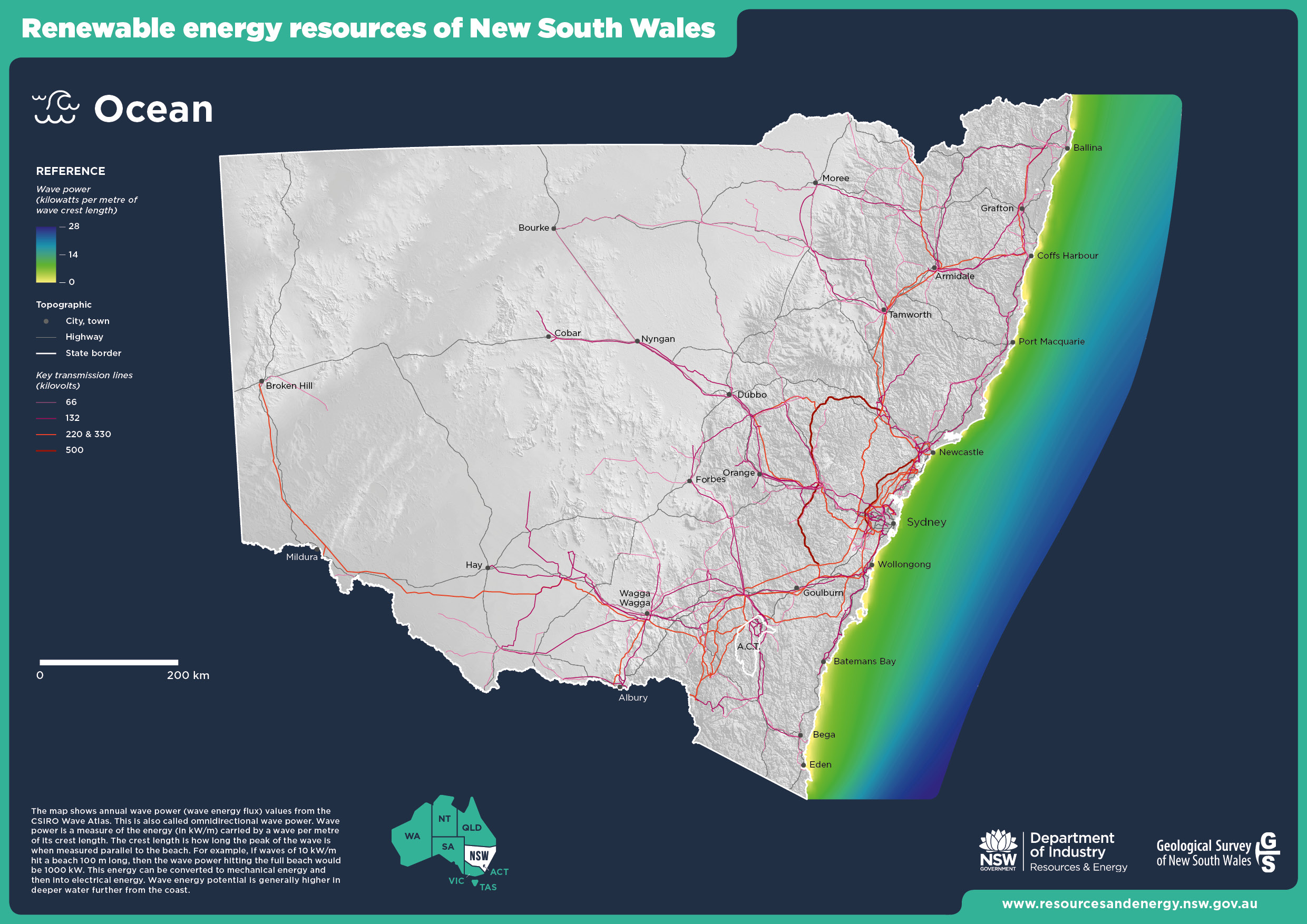 Map of ocean energy resources in NSW