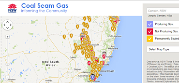 Map of NSW coal seam gas wells