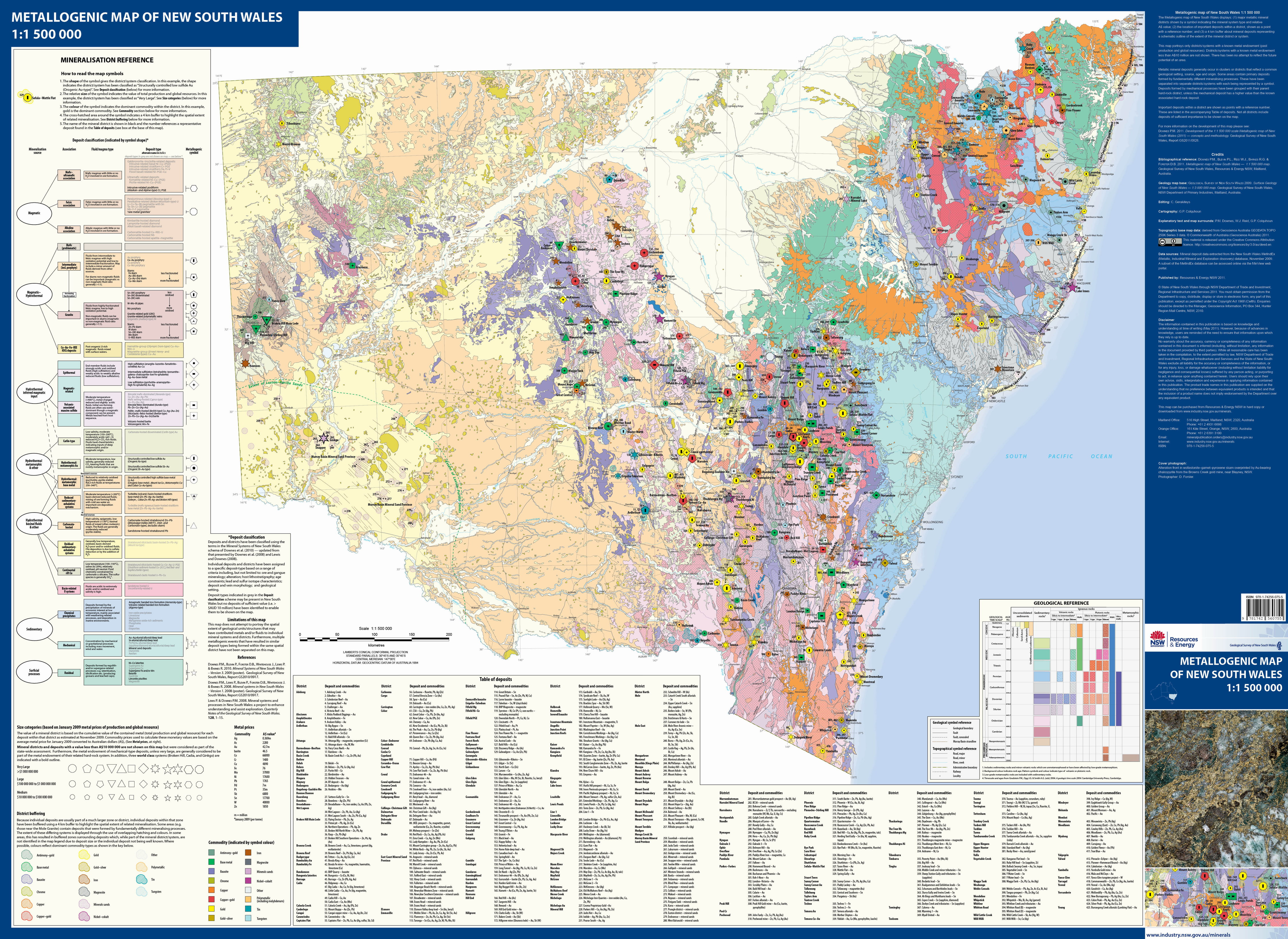 Australia 250k Map.Publications Australia Minerals